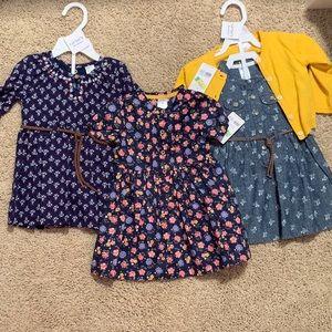 Carters Dresses and Yellow Cardigan